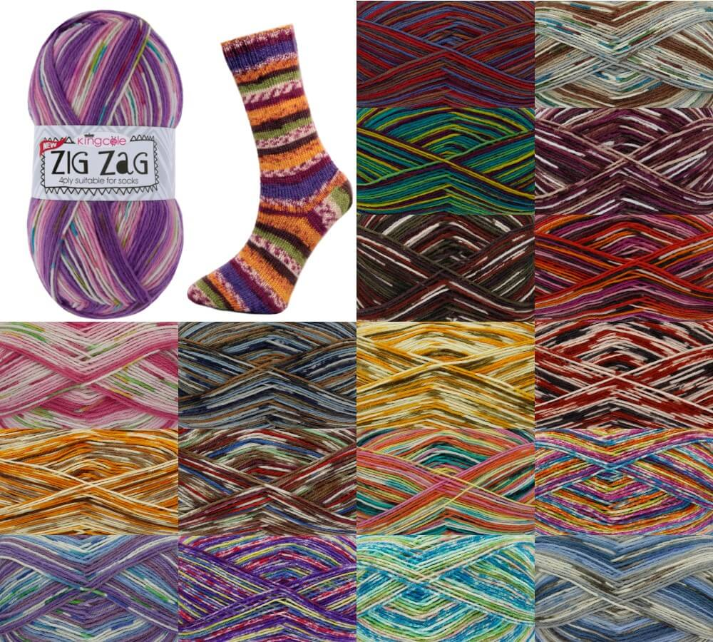 King Cole Zig Zag 4 Ply Knitting Yarn Craft Wool Socks 100g Ball Cosmic Sky