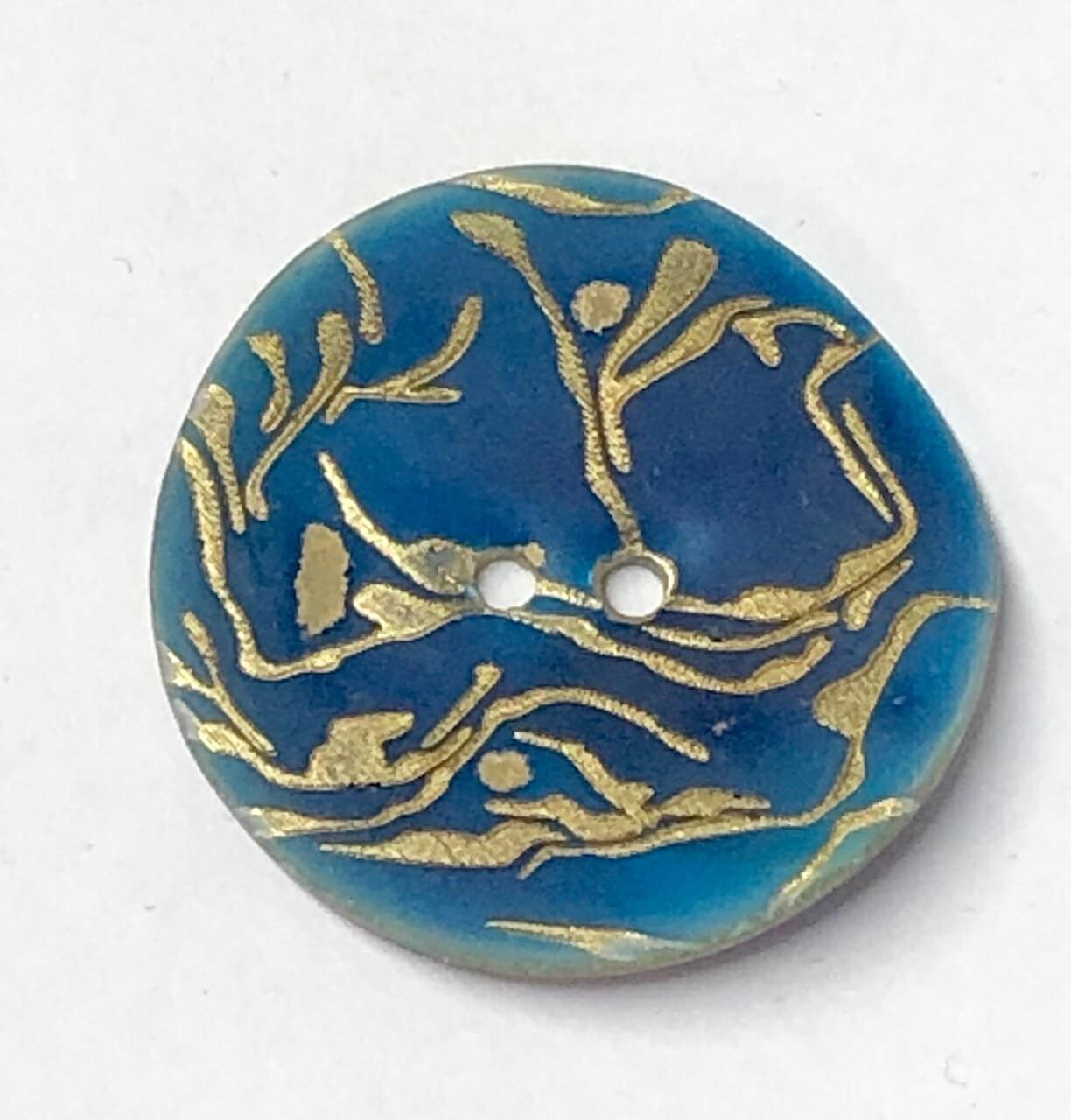 34mm Gold Scroll on Blue Sea Shell Round Button Italian Design