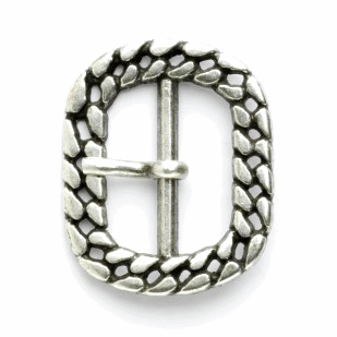 25mm Rectangle Rounded Edges Flat Curb Chain Pattern Buckle Vogue Star Silver