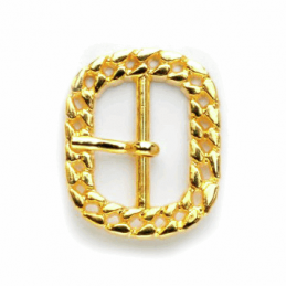 25mm Rectangle Rounded Edges Flat Curb Chain Pattern Buckle Vogue Star Gold