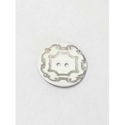 27mm Silver Scroll On White Sea Shell Round Button Italian Design