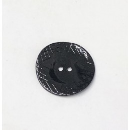 34mm Black Sketched Lines Sea Shell Round Button Italian Design