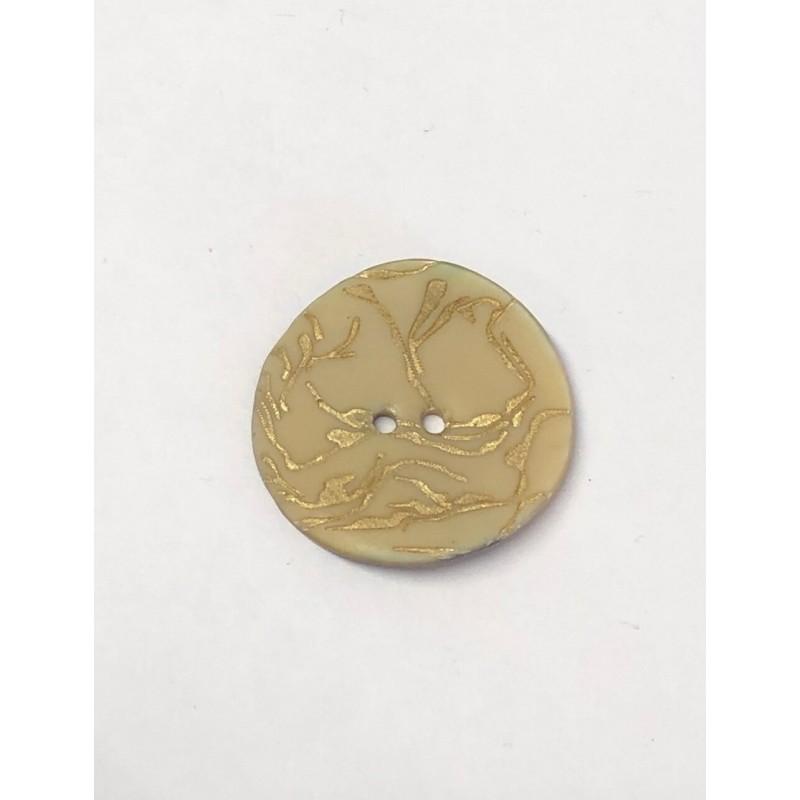 34mm Gold Scroll on Cream Sea Shell Round Button Italian Design