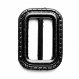 Vogue Star 25mm Rectangle Leather Look Stitch Effect Slide Replacement Buckle Black
