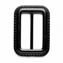 Vogue Star 40mm Rectangle Leather Look Stitch Effect Slide Replacement Buckle Black