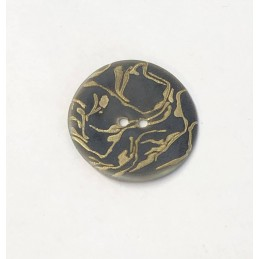 34mm Gold Scroll on Black Sea Shell Round Button Italian Design