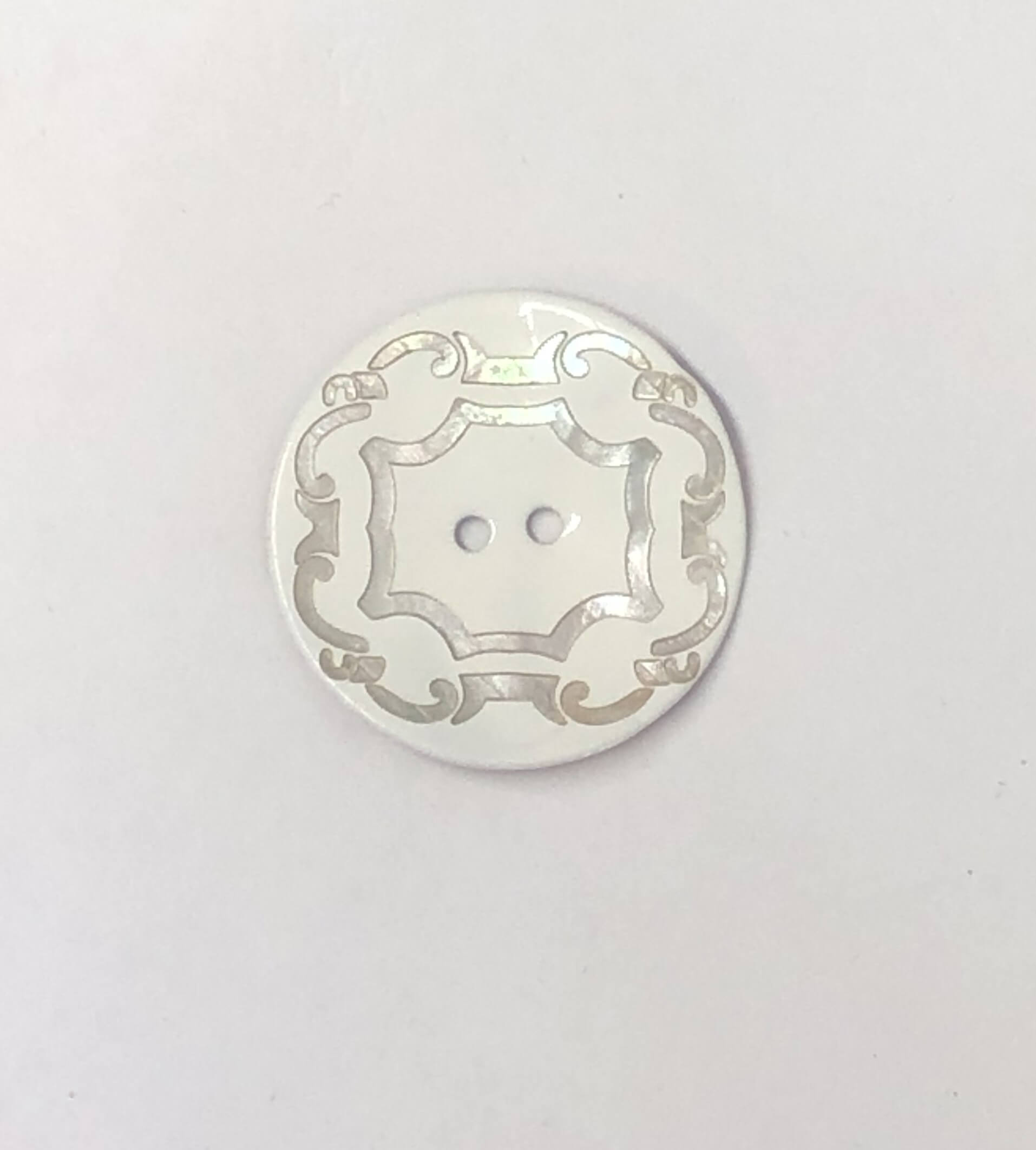34mm Silver Scroll on White Sea Shell Round Button Italian Design