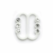 Vogue Star 10mm Pair of Mini Diamonte Slider Replacement Buckles Accessories White