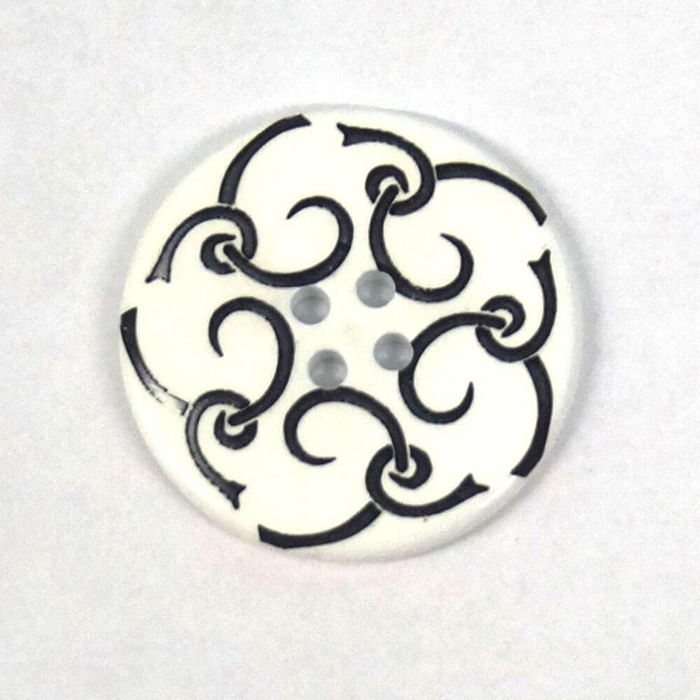 27mm Black Swirls on White Round Button Italian Design