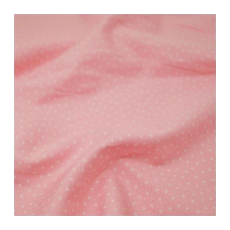 100% Cotton Poplin Fabric Rose & Hubble 3mm Stars & Spots Baby Pink
