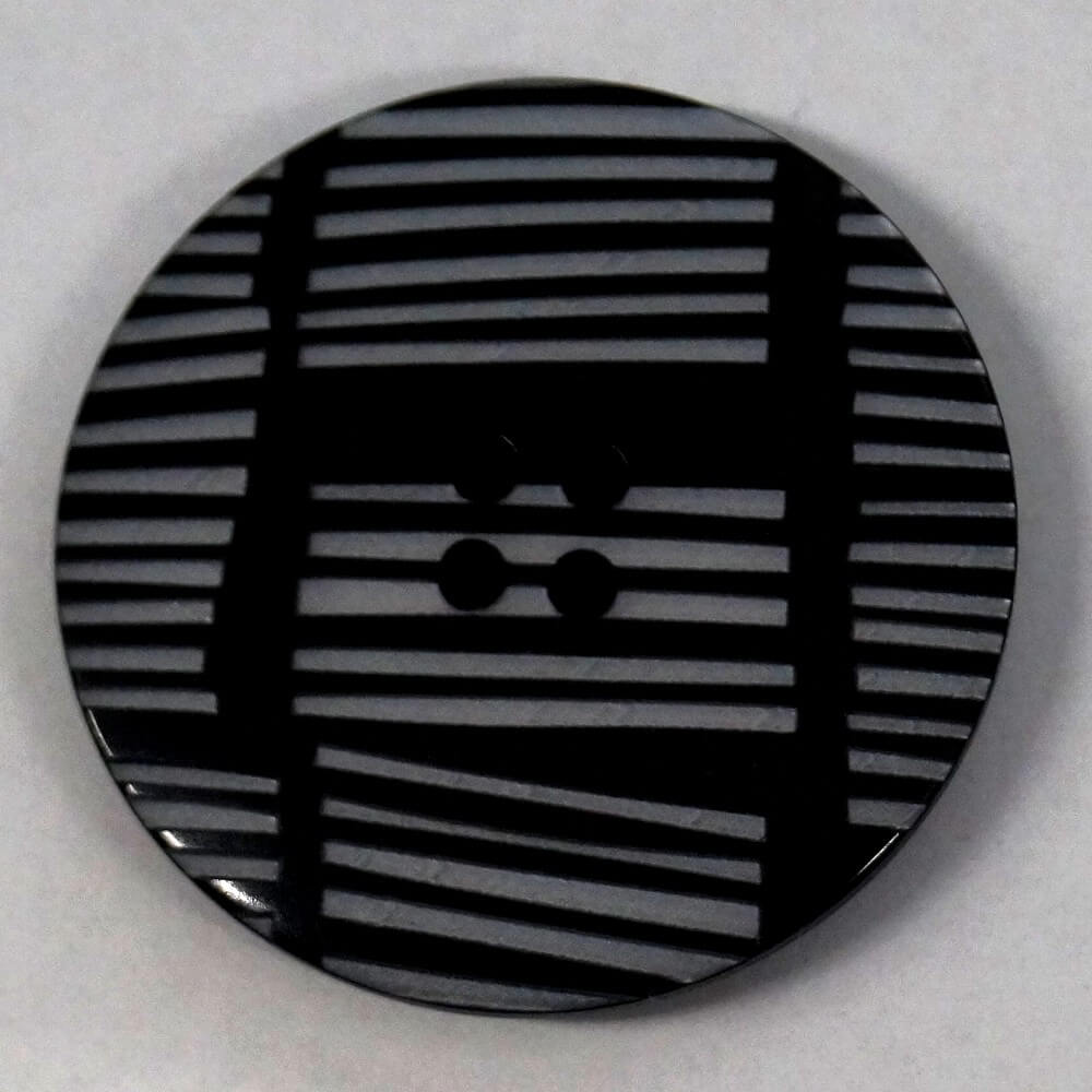 34mm Geometric Lines Black Round Button Italian Design