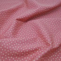 100% Cotton Poplin Fabric Rose & Hubble 3mm Stars & Spots Pink