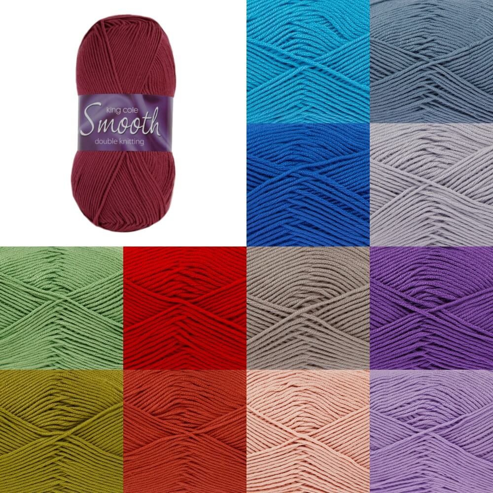 White King Cole Smooth  DK Yarn Crochet Knitting Craft Wool Crochet 100g Ball