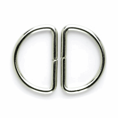 30mm Pair of D Rings Silver Buckle Vogue Star