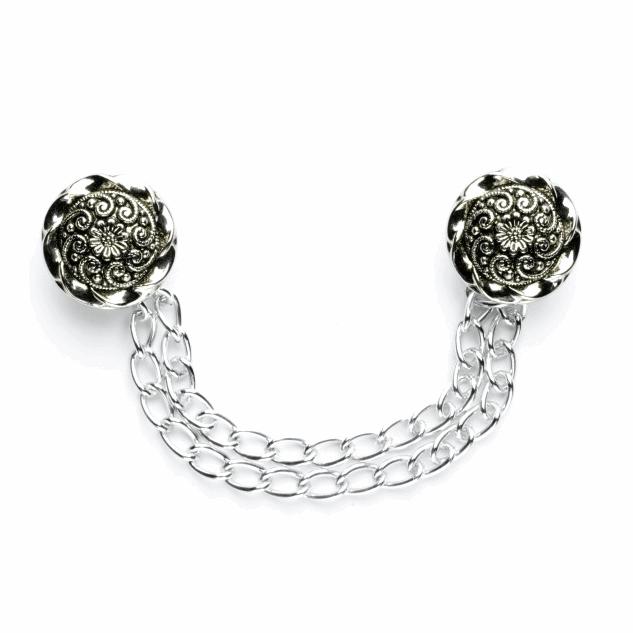 Vogue Star Cloak Chain Twist Flower Design Buttons 135mm Vintage Silver