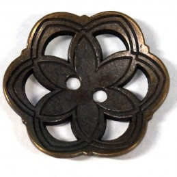 27mm Antique Style Floral Flower Head Metal Button