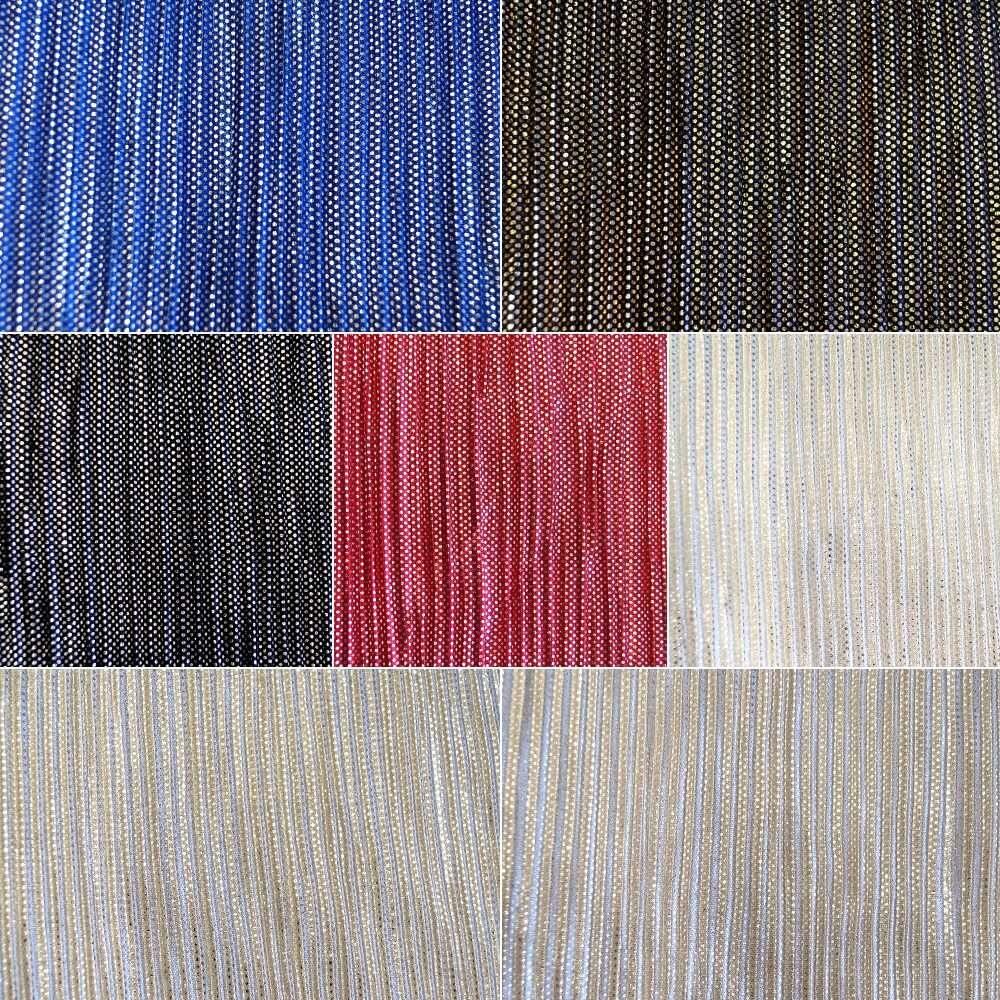 Red - Silver 100% Polyester Pleated Lurex Jersey Sparkle Festive Crimped Glitter Dancewear