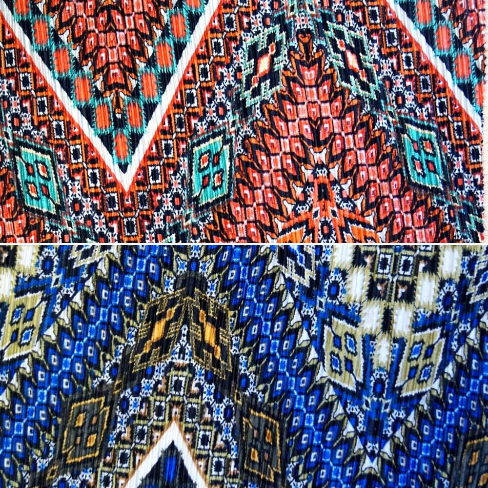Orange 100% Polyester Pleated Printed Jersey Big Zig Zag Festival Aztec Funky