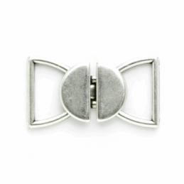 18mm Antique Silver Round Link Clasp Fastener Vogue Star