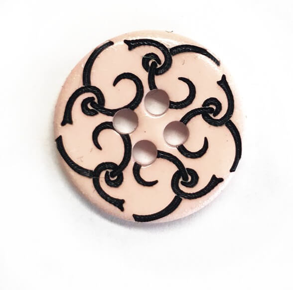 Small Pink Flower Button 18mm Italian Design