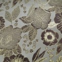 Sitka White Beige Polyester Metallic Brocade Fabric Embroidered Silky Satin Floral Flower Curtain