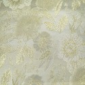 Sitka White Gold Polyester Metallic Brocade Fabric Embroidered Silky Satin Floral Flower Curtain