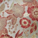 Sitka White Red Polyester Metallic Brocade Fabric Embroidered Silky Satin Floral Flower Curtain