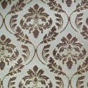 Phoenix White Beige Polyester Metallic Brocade Fabric Embroidered Silky Satin Floral Flower Curtain