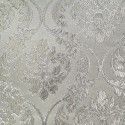 Phoenix White Grey Polyester Metallic Brocade Fabric Embroidered Silky Satin Floral Flower Curtain