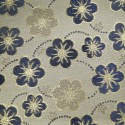 Houston Blue Gold Polyester Metallic Brocade Fabric Embroidered Silky Satin Floral Flower Curtain
