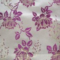 Wrangell Fuchsia Gold Polyester Metallic Brocade Fabric Embroidered Silky Satin Floral Flower Curtain