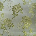 Wrangell White Olive Polyester Metallic Brocade Fabric Embroidered Silky Satin Floral Flower Curtain