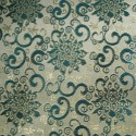 Anaconda Emerald Gold Polyester Metallic Brocade Fabric Embroidered Silky Satin Floral Flower Curtain