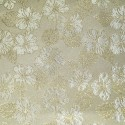 Nashville White Gold Polyester Metallic Brocade Fabric Embroidered Silky Satin Floral Flower Curtain
