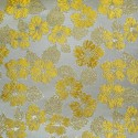 Nashville Yellow Gold Polyester Metallic Brocade Fabric Embroidered Silky Satin Floral Flower Curtain