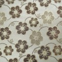 Oklahoma White Beige Polyester Metallic Brocade Fabric Embroidered Silky Satin Floral Flower Curtain