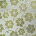 Oklahoma White Olive Polyester Metallic Brocade Fabric Embroidered Silky Satin Floral Flower Curtain
