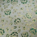 Dallas White Green Polyester Metallic Brocade Fabric Embroidered Silky Satin Floral Flower Curtain