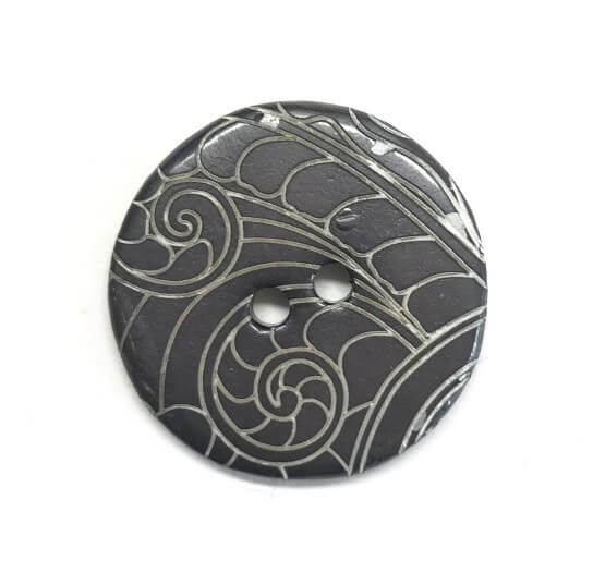 Grey Patterned Linear Swirls Button 24mm Italian Design