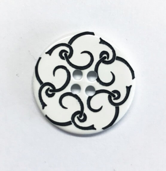 Small White Flower Button 18mm Italian Design