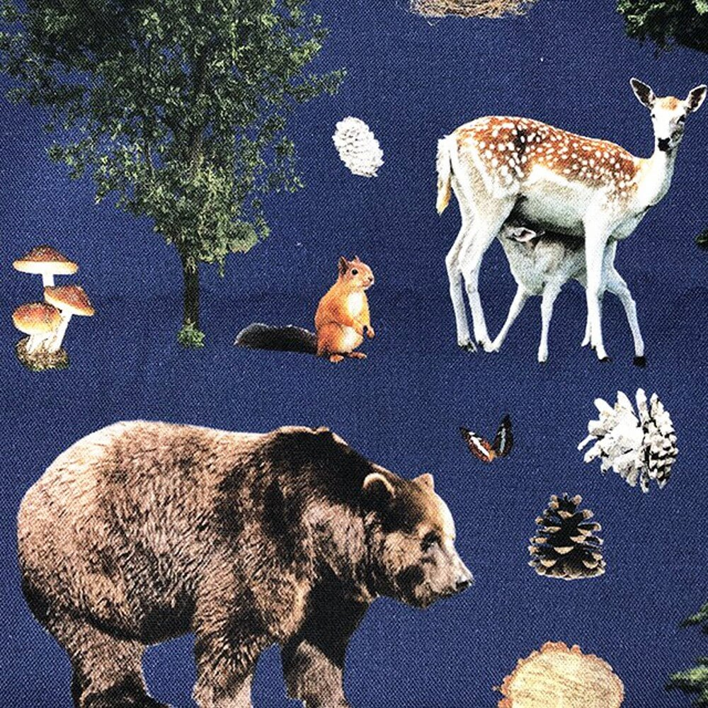 100% Cotton Canvas Digital Print Forest Animals Bear Fox Deer Fabric 140cm Wide
