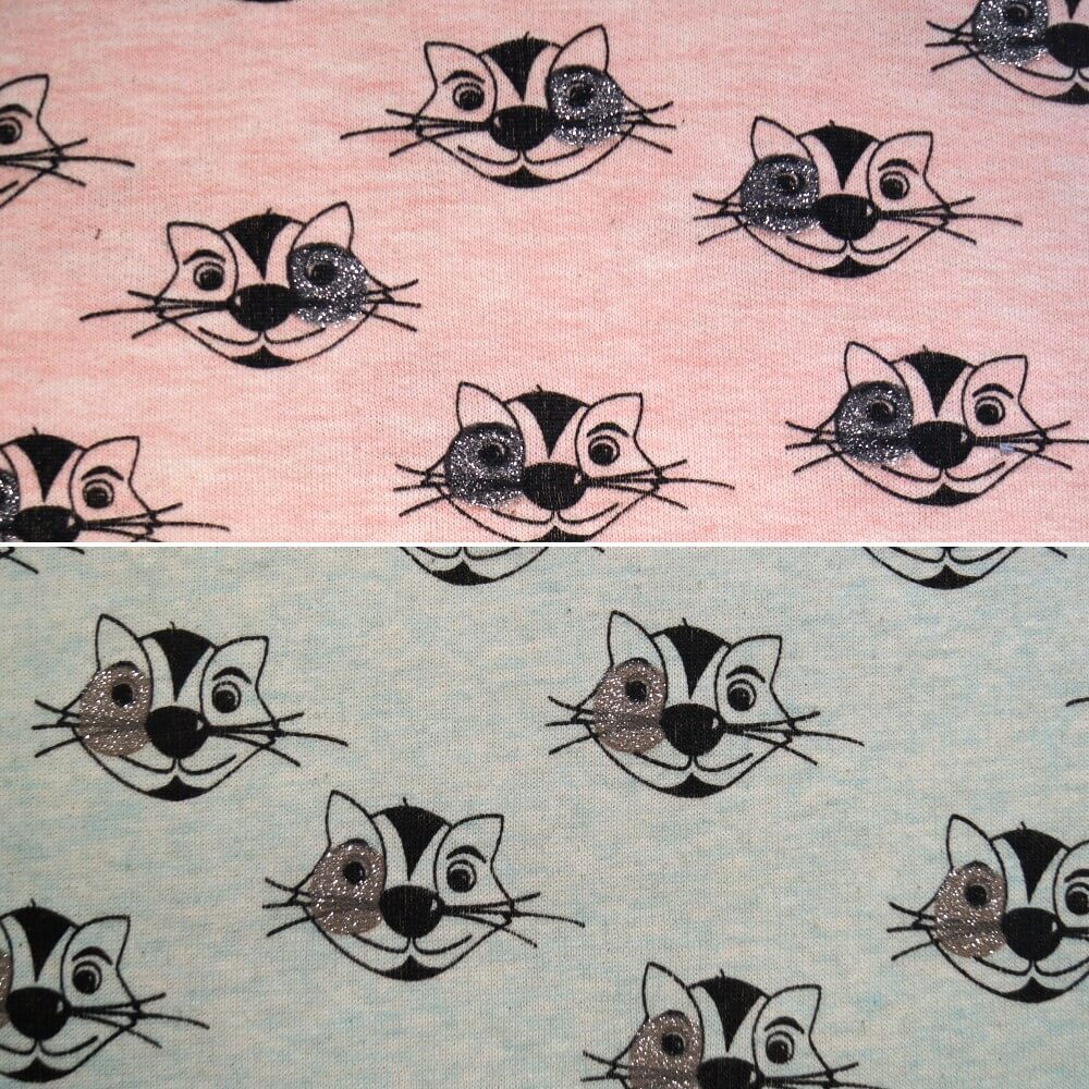 Rose Pink Cotton Polyester Jersey Stretch Fabric Glitter Cat Animal Pajama
