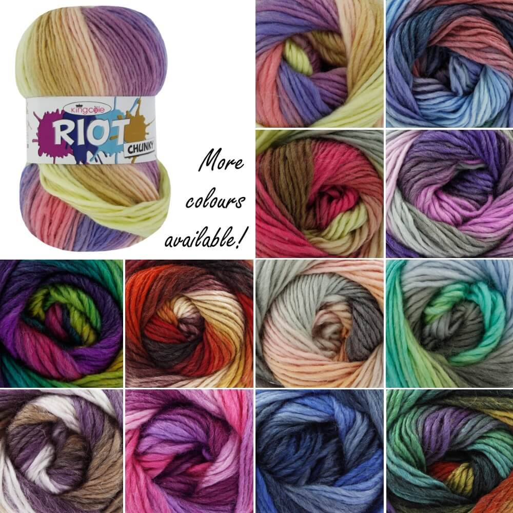 King Cole Riot Chunky Knitting Yarn Knit Craft Wool Crochet 100g Ball Rainbow