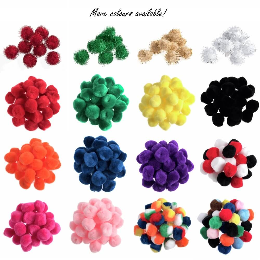 100 x Pom Poms Embellishments Craft Trimmings Accessories Pink