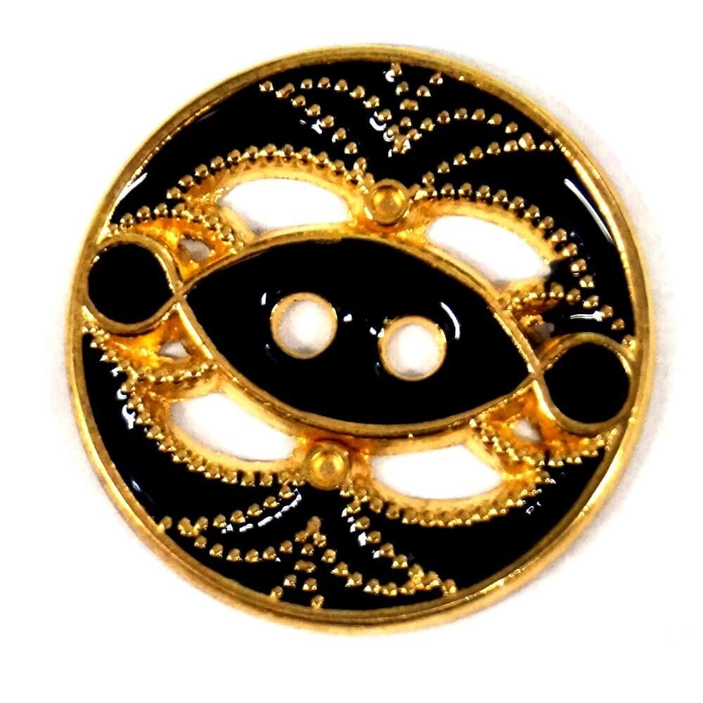 Decorative Broach Design Round Metal Button 27mm Italian Design