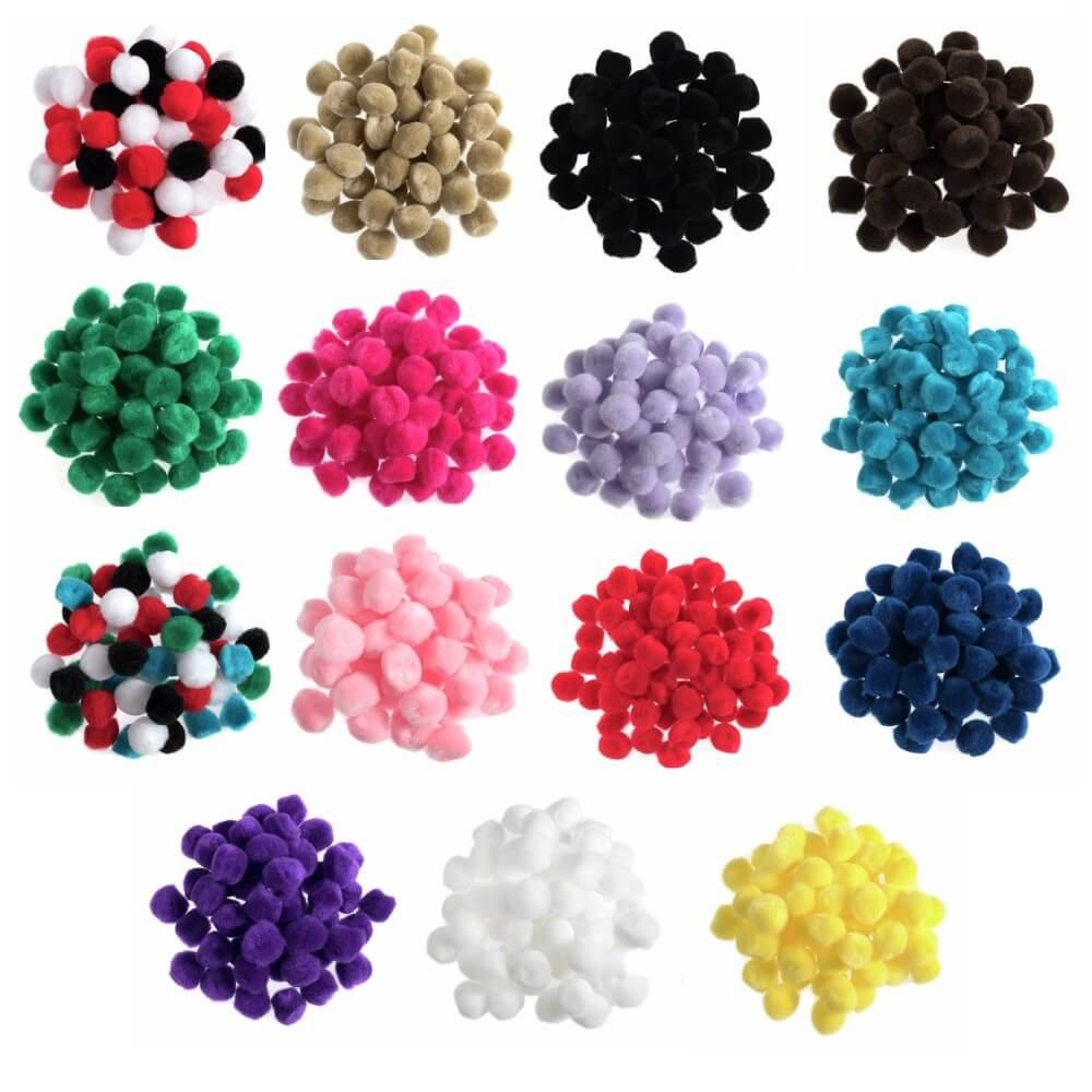 100 x 12mm Pom Poms Embellishments Craft Trimmings Accessories Light Blue