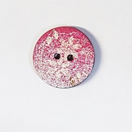 Pink & White Speckled Paint Wooden Floral Button 22mm