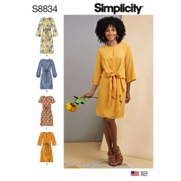 Simplicity Sewing Pattern 8834 Women's Misses' Tie Front Dress