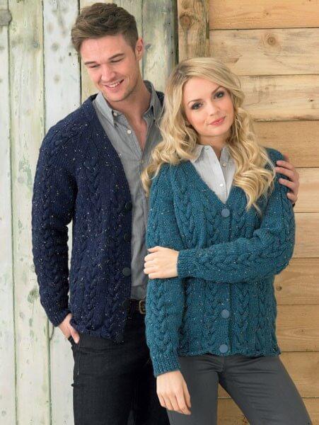 Knitting Pattern James C Brett JB212 Aran Couples His & Hers Cardigan