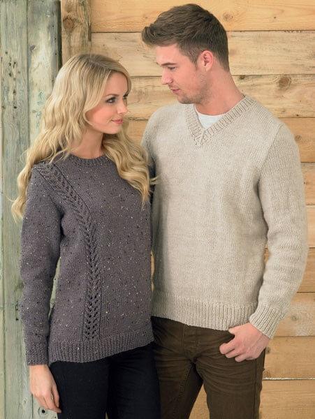 Knitting Pattern James C Brett JB213 Aran Couples His & Hers Jumpers
